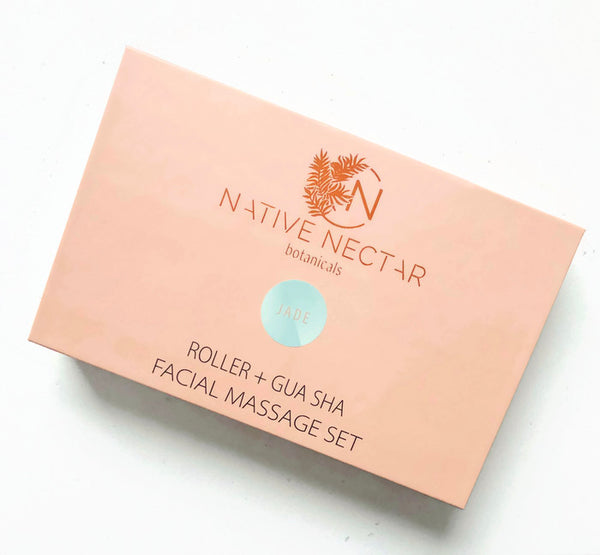 Jade Roller + Gua Sha Facial Massage Set - Native Nectar Botanicals