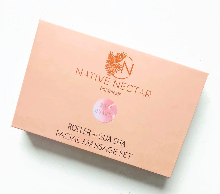 Rose Quartz Roller + Gua Sha Facial Massage Set - Native Nectar Botanicals