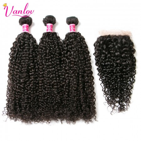Curly Hair | 3 Bundles Human Hair Weave With Closure