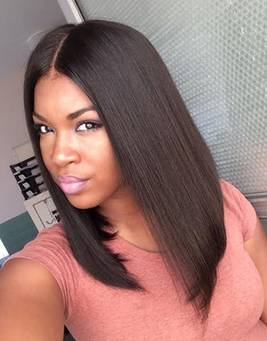 Straight hair Lace front wig synthetic wig-Bod005