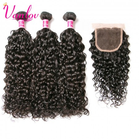 Water Wave | 3 Bundles Human Hair Weave With Closure