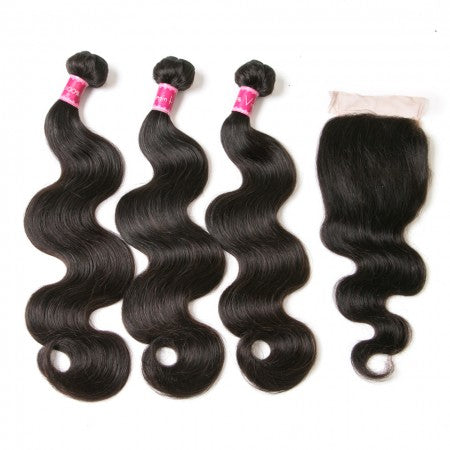 Body Wave | 3 Bundles Human Hair Weave With Closure
