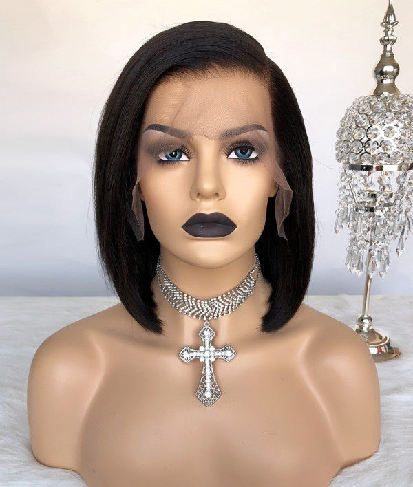 """Kylie"" Short Lace Front Wig Pre-Made Fake Scalp"