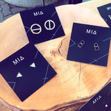 Brass Circle/Square Geometric Earrings