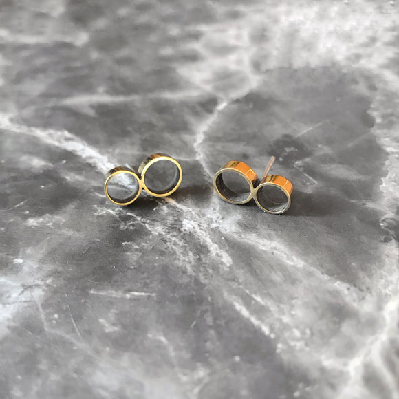 Brass Double Circle Geometric Earrings