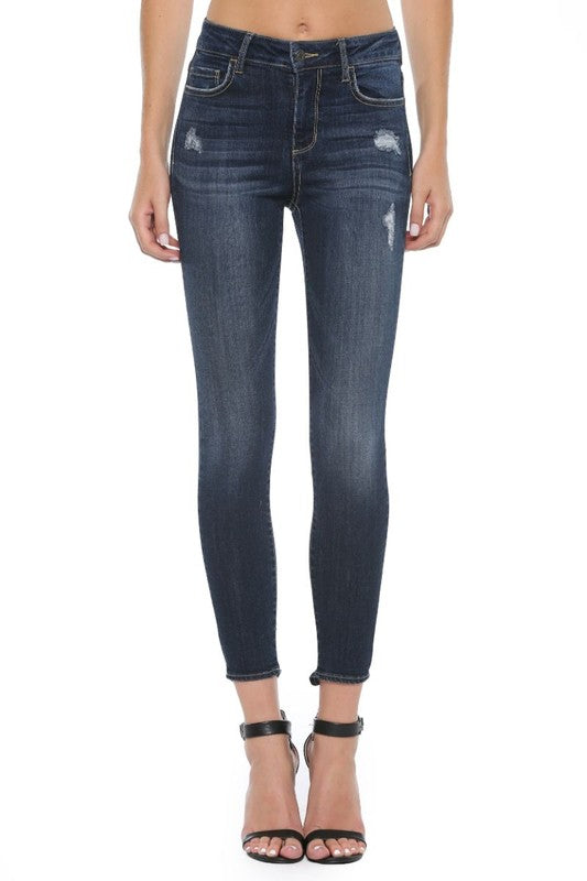 Cello Mid-Rise Destroyed Hem Skinny Jeans