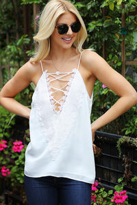 Reversible Embroidery Lace Accent Tank (2 Colors Available)