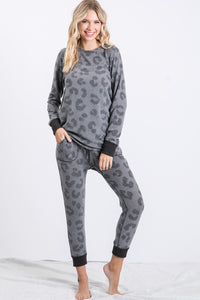 Grey Scale Leopard Print Lounge Set
