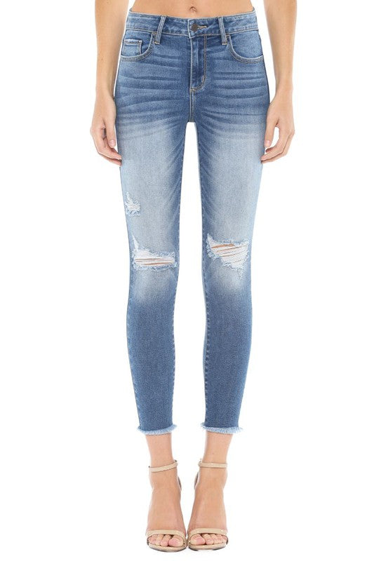 Women's Cello Midrise Fray Hem Crop Skinny Jeans