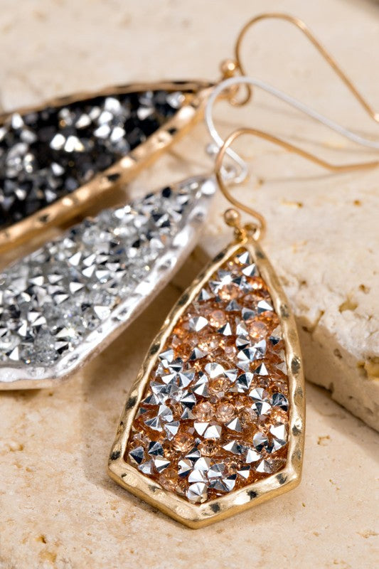 Glitter Stone Hook Earrings
