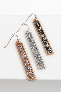 Glitter Stone Long Bar Earring