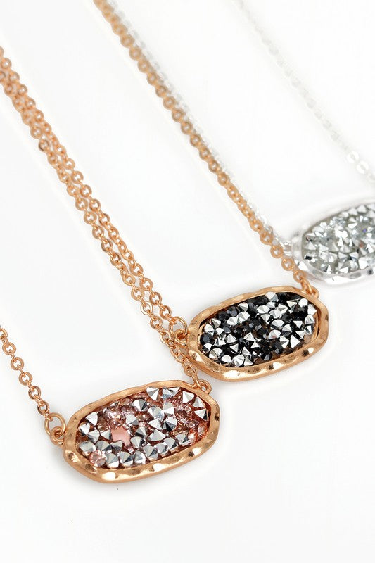 Oval Glitter Stone Necklace