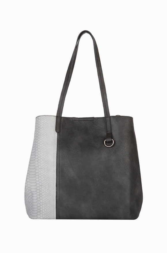 Two Piece Vegan Leather Convertible Cross-body Tote