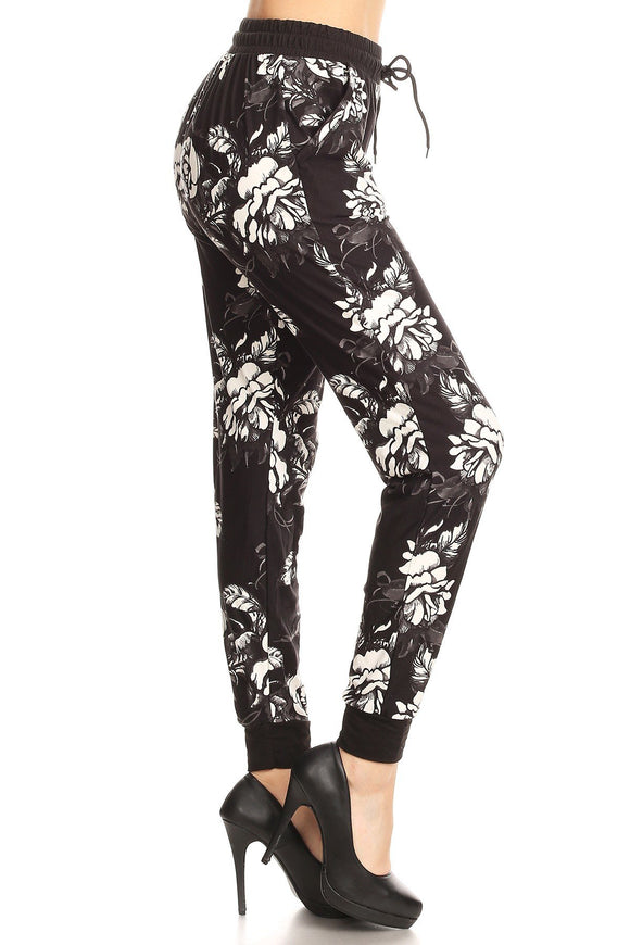 Floral Print Greyscale Joggers