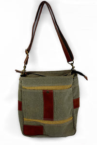 """Cameron"" Up-cycled Canvas Crossbody"