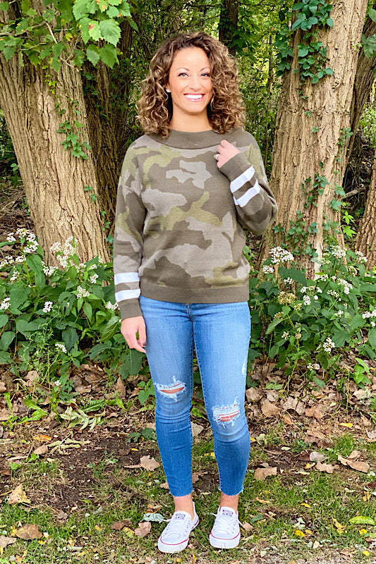 Women's Camo Print Dolman Sleeve Sweater