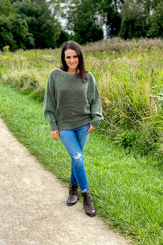 Textured Accent Dolman Sleeve Sweater (2 colors available)