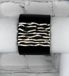 Women's Faux Leather Cuff with Wavy Bar