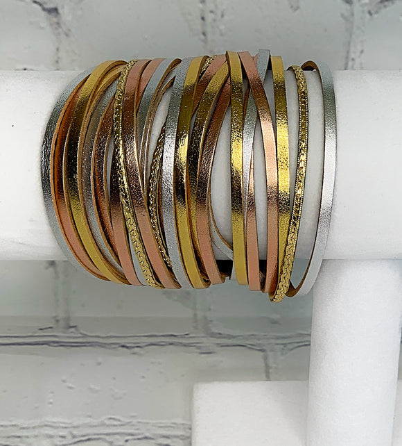 Tri-Color Thick Leather Cuff Bracelet