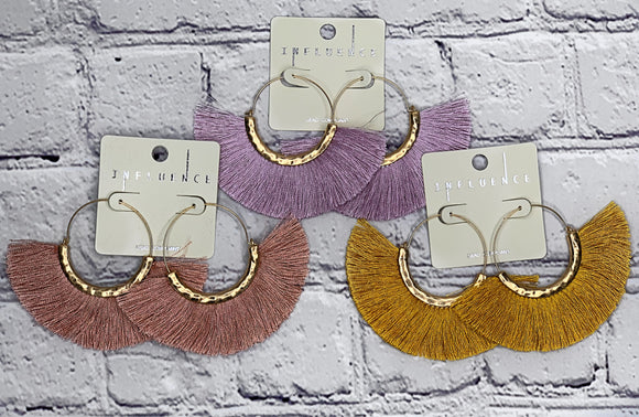 Semicircle Faux Tassel Earrings (Multiple Colors Available)