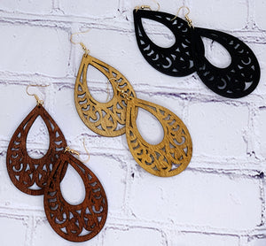Wood Filigree Earrings (Multiple Colors Available)
