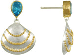 Sea Shell Earrings of Gold and Silver with Blue Topaz