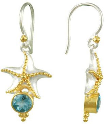 Starfish and Baby Blue Topaz Earrings