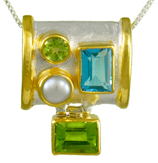 Sky Blue Topaz, Peridot and Pearl necklace