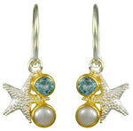 Starfish and Blue Topaz with Pearl Earrings