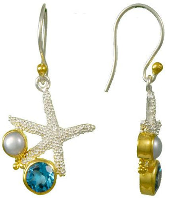 Starfish, Blue topaz and pearl earrings