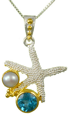 Starfish with Blue Topaz and Pearl Necklace by Michou