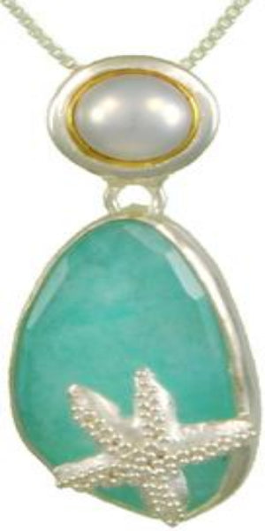 Sea Foam pendant with Starfish  and Fresh Water Pearl