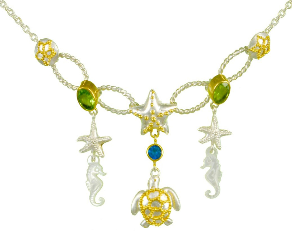 Seahorse, Starfish, Turtles, Peridot, Teal Topaz and Sand Dollar Necklace