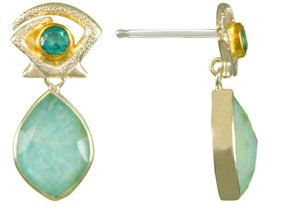 Paraiba Topaz, Amazonite with Mother of Pearl Earrings
