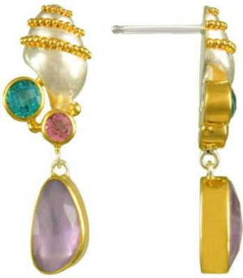 Mother of Pearl  Shell Earrings with, Paraiba Topaz, Pink Topaz and Rose De France Gemstones