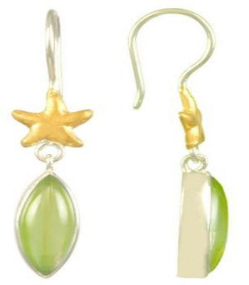 Green Jade Earrings with gold stars