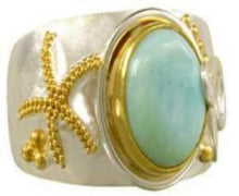 Larimar Ring with Starfish embellishment