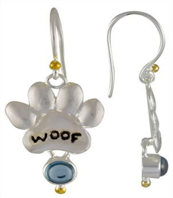 Woof! Dog Paw and Topaz earrings