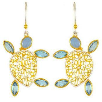 Dancing Gold Turtle Earrings with Blue stones