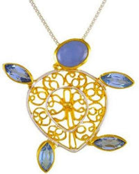 Dancing Sea Turtle with Aquamarine & Blue Topaz