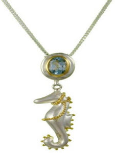 Blue Topaz Gold and Silver Seahorse Necklace