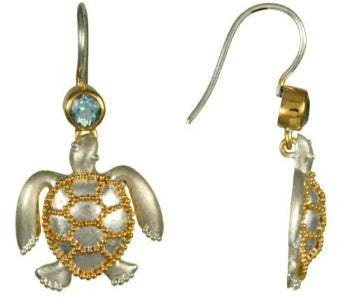 Sea Turtle and Blue Topaz earrings