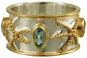 Star fish, blue topaz on Silver and Gold Ring