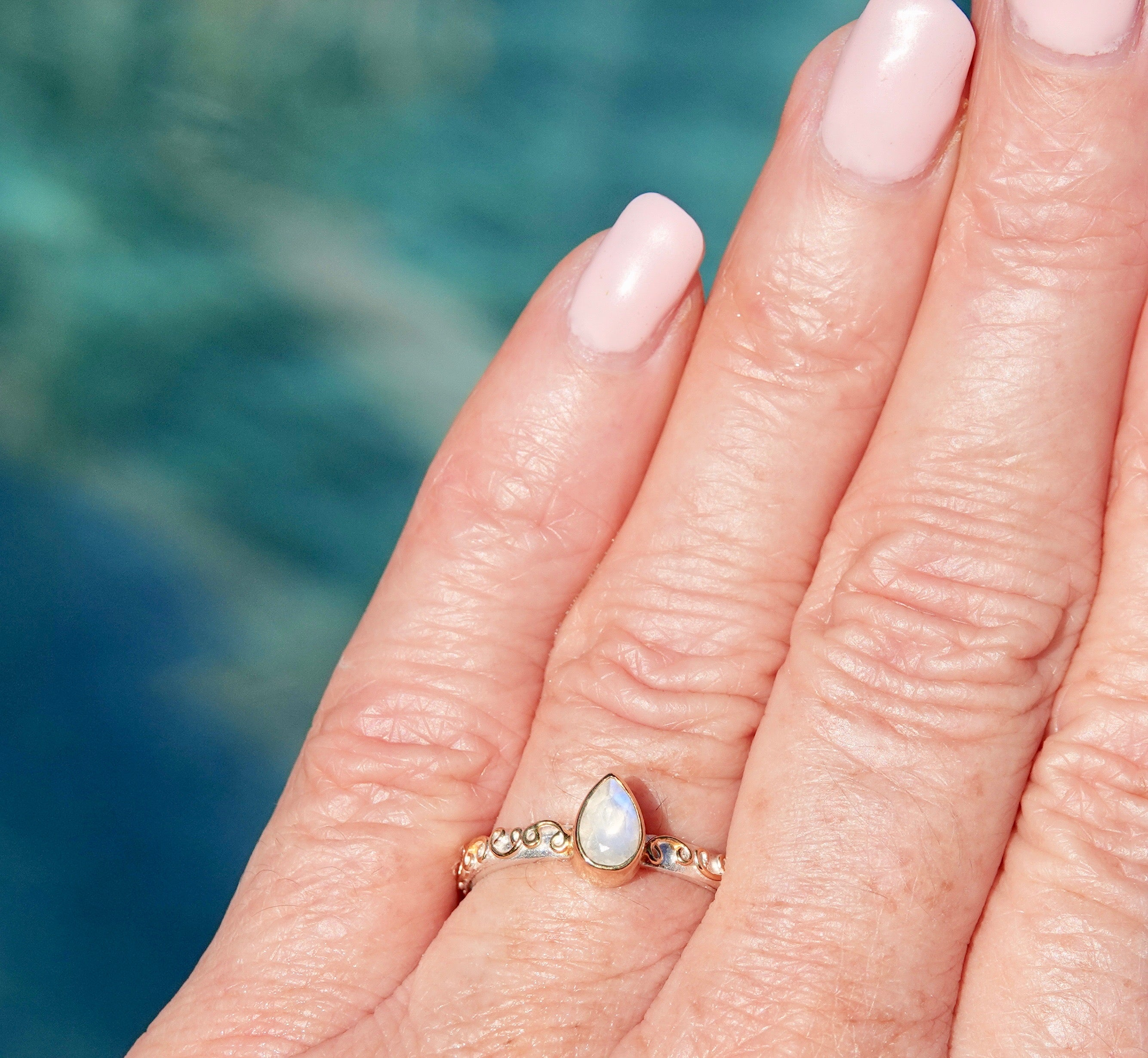 Teardrop Rainbow Moonstone Ring