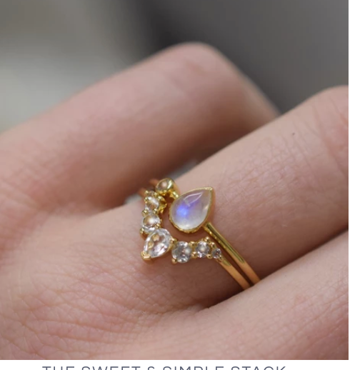 Topaz & Moonstone Dew Drop Ring by LA Kaiser