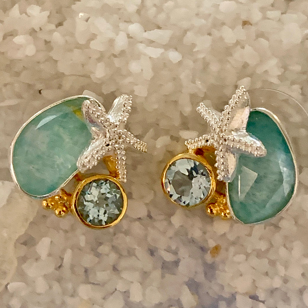 Starfish, blue topaz and stud earrings for summer