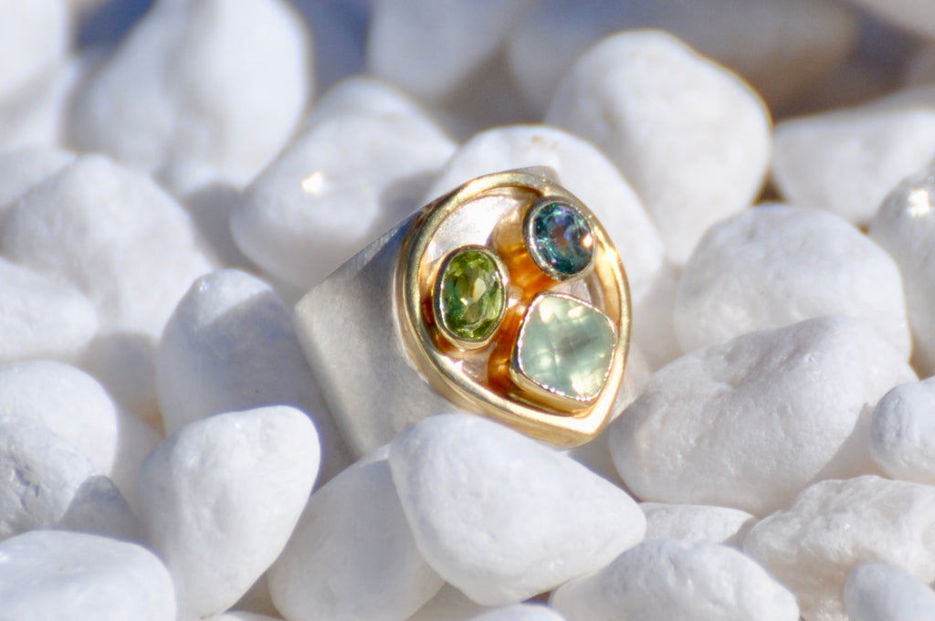One of Kind Peridot, Prehnite and Delicious Topaz Ring