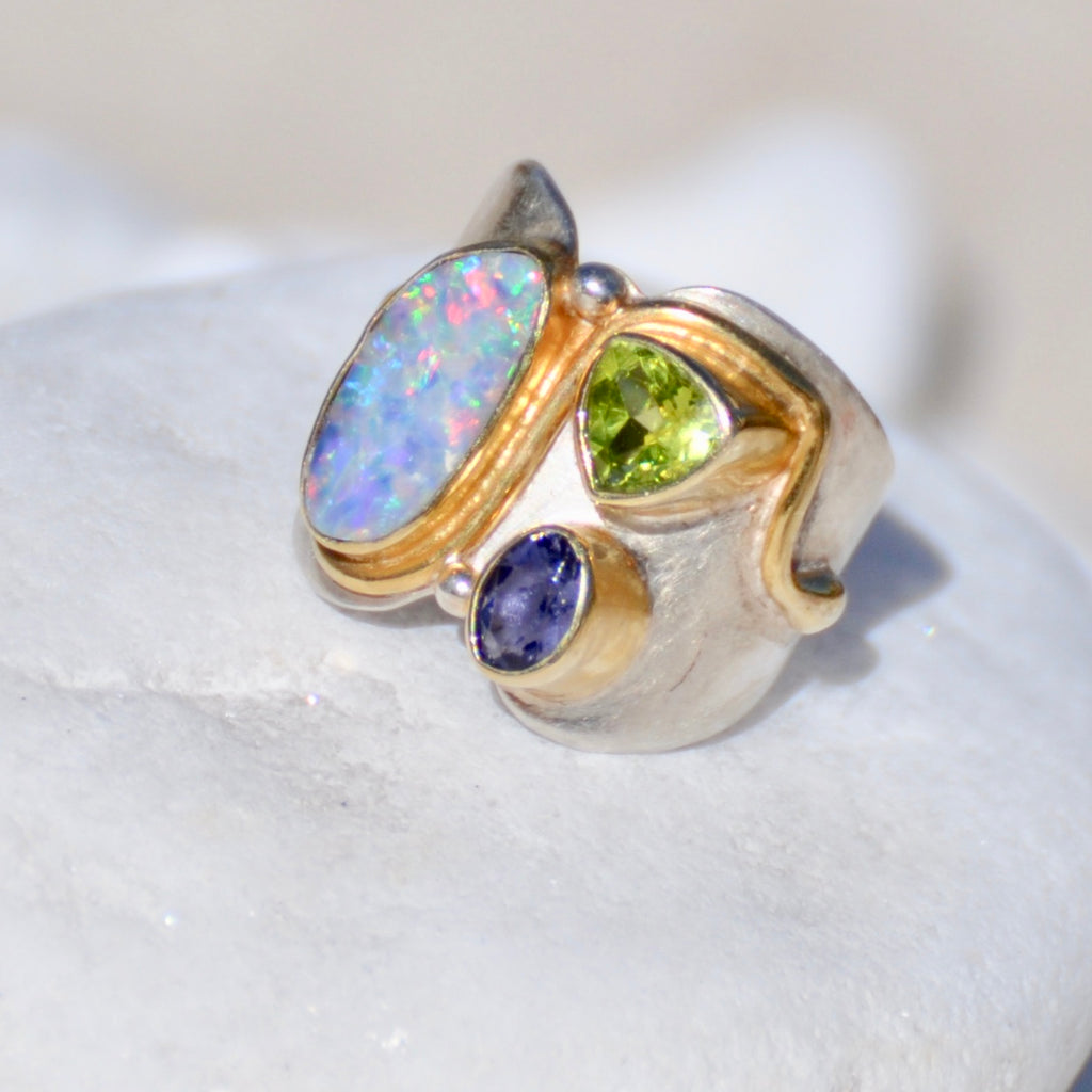 One of Kind- Opal, Purple Iolite and Green Peridot