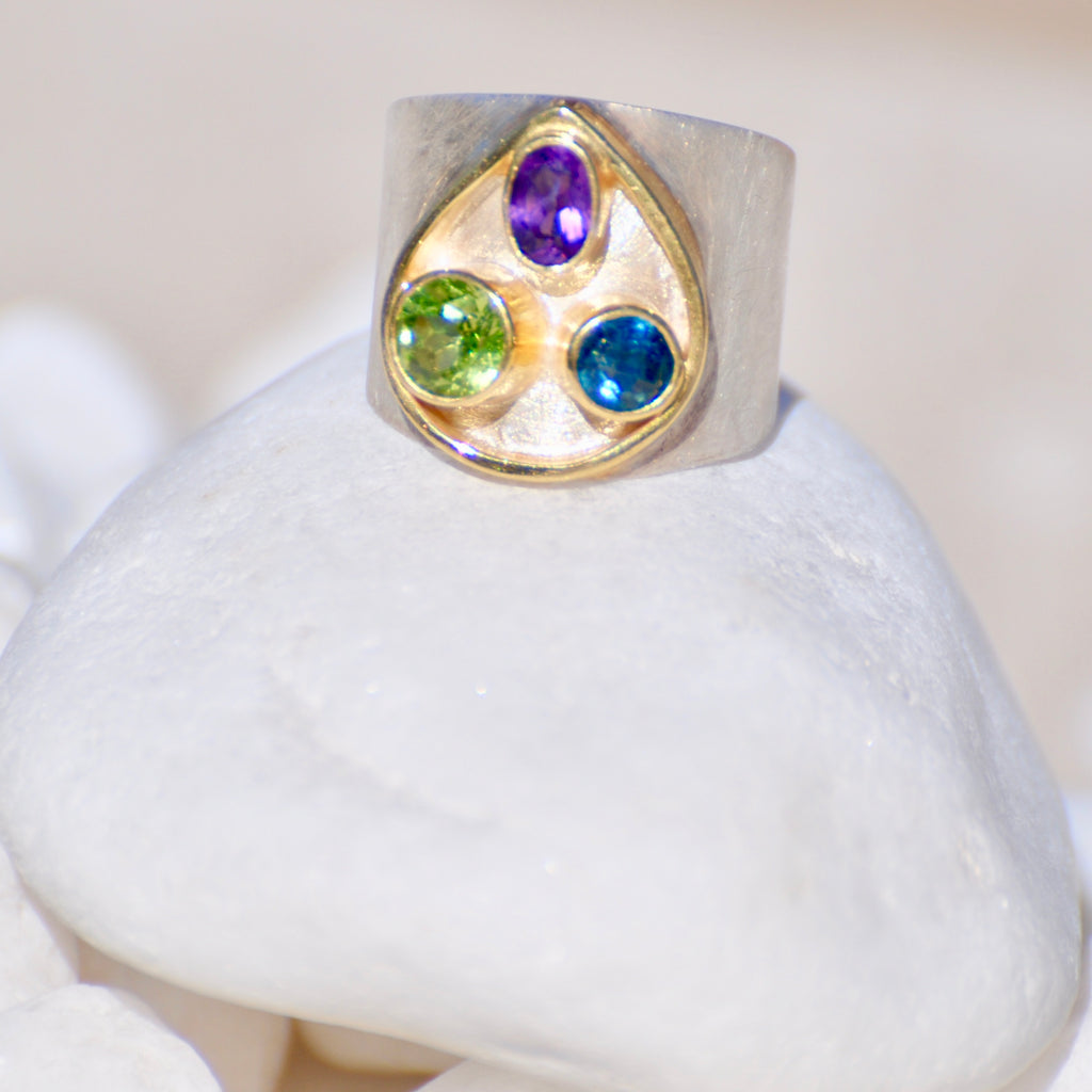 Amethyst, London Blue Topaz and Peridot