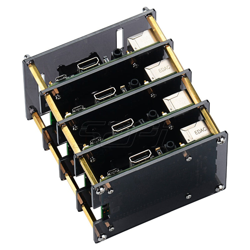 4-Layer Acrylic Case with Cooling Fans for Raspberry Pi, notiaPoint, Inc., notiaPoint, Inc. - notiaPoint, Inc.